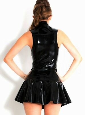 Completo Abito Vestito Latex Mistress Gonna Clubwear Dominatrice Canottiera Sexy