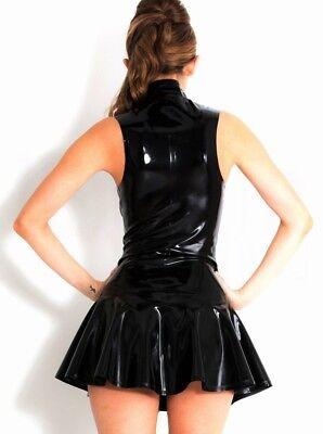Tuta Abito Vestito Latex Mistress Mini Gonna Clubwear Dominatrice Canottiera Sex 4