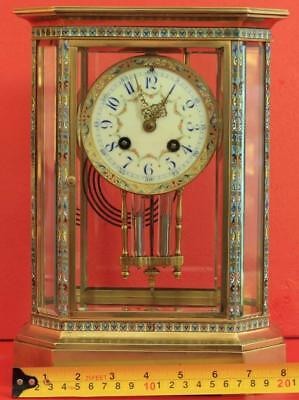 Rare Japy Freres 8 Glass Cloisonne Antique French Crystal Regulator Mantle Clock 7