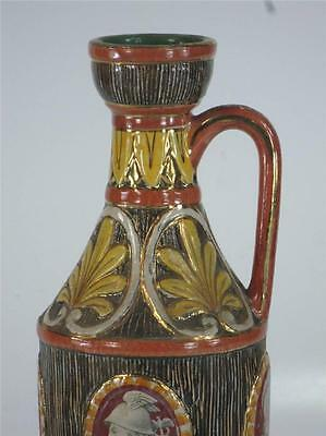 Pitcher Classical Italy Pottery Hand Made, Panted & Transfer, Bust, Figurative 4