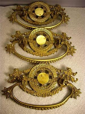 3 LARGE Ornate French Empire Motif Gilt Brass Ormolu Curved Drawer Pulls Handles 2