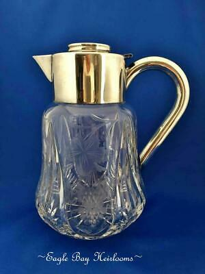 Antique Lead Crystal, Chased Grapes & Leaves, ASCI Silverplated Germany Pitcher 8