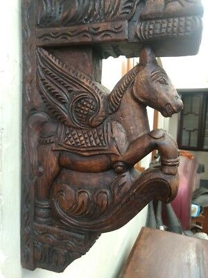 Wall Horse Corbel Wooden Bracket Hand carved Pony Sculpture Statue Home Decor US 2