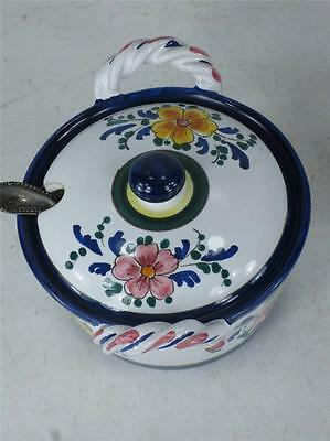 Art Pottery Italy Hand Painted JELLY JAM POT Spoon Slotted lid  Finial Handle 3