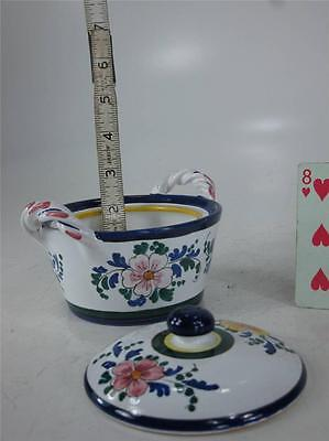 Art Pottery Italy Hand Painted JELLY JAM POT Spoon Slotted lid  Finial Handle 6