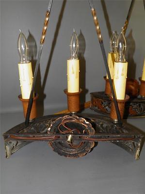 Antique Bronze Gothic Arts& Crafts Pr Sconces Lights Cold Painted Acorns Shield 12