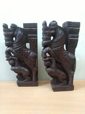 Wooden Wall Corbel Pair Horse Sculpture Bracket Dragon Yali Statue Home Decor 6