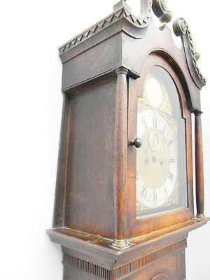 antique grandfather clock oak and mahogany case brass faced arched dial 8 day 2