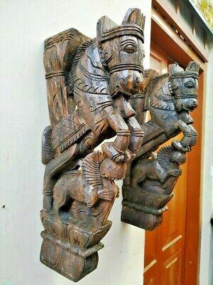 Wall Bracket Horse Sculpture Corbel Pair Wooden Yali Statue Wall Shelf Decor US 6