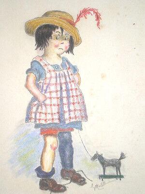 Dessin Au Crayon De Couleur Petite Fille Au Cheval à