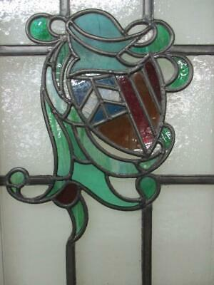 "MIDSIZE OLD ENGLISH LEADED STAINED GLASS WINDOW Shield & Helmet 15.5"" x 30.75"" 5"