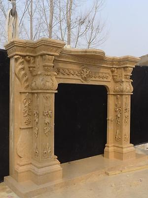 Beautiful Hand Carved Marble European Design Marble Figural Fireplace Mantel 5
