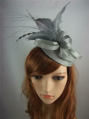 Silver Grey Sinamay Fascinator with Feather Flower - Ascot Wedding Races 2