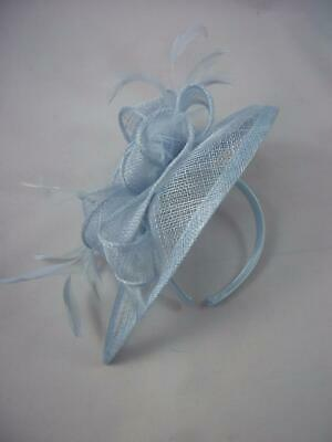 Pale Blue Teardrop Sinamay Fascinator with Feathers - Occasion Wedding Races 4