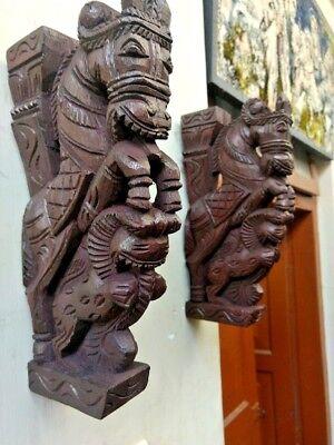 Wooden Wall Corbel Pair Horse Sculpture Bracket Dragon Yali Statue Home Decor 2