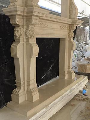Large Estate Hand Carved Fireplace Mantel - Fireplace Mantel - Monumental Mantel 9