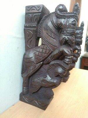 Wooden Wall Corbel Pair Horse Sculpture Bracket Dragon Yali Statue Home Decor 5