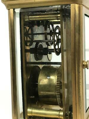 Antique 19thC French Brass Glass Carriage Officers Clock +Key HENRI JACOT (Attr) 10