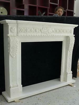 Beautiful Hand Carved Marble European Design Marble Figural Fireplace Mantel Z7 5