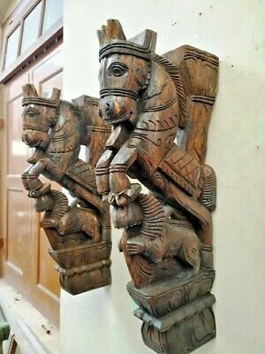 Wall Bracket Horse Sculpture Corbel Pair Wooden Yali Statue Wall Shelf Decor US 7