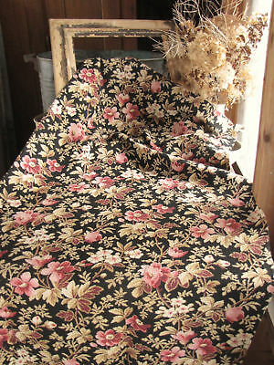 Heavy weight upholstery fabric antique French embroidered look black ground ~