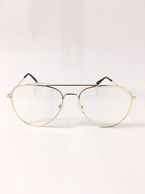 65d25df2aff7 ... UNISEX Clear Lens Aviators Fashion Gold Glasses Sunglasses Retro Vintage  Metal 5