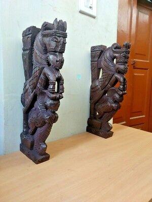 Wall Corbel Pair Wooden Horse Sculpture Bracket Gargoyle Statue Home Decor Rare 3