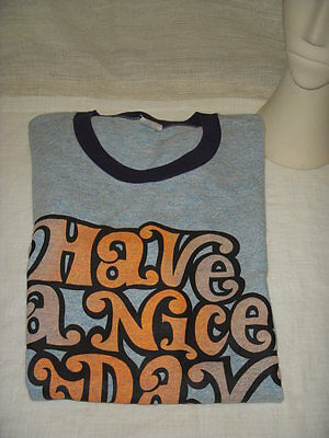 Vintage Have A Nice Day '74 Keep On Streakin Ringer T Shirt Men L Mint