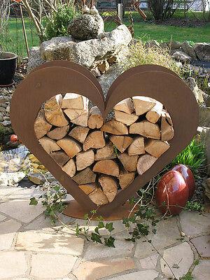 Herz aus metall holz regal edel rost garten terrasse for Gartendeko blech
