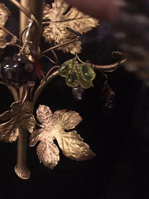 French Antique Solid Brass Grape Leave Sconce With Multi Color Crystals 5