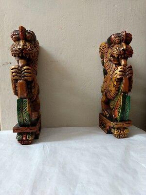 Wall Wooden Bracket Corbel Pair Temple Yalli Dragon Statue Sculpture Home Decor 7