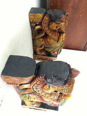 Wall Wooden Bracket Corbel Pair Temple Yalli Dragon Statue Sculpture Home Decor 8