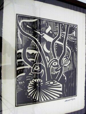 """GLEIZES Albert -BOIS GRAVE TIRAGE 1921""""COMPOSITION CUBISTE/SCÈNE AQUATIQUE"""" AGL8 4"""