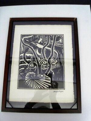 """GLEIZES Albert -BOIS GRAVE TIRAGE 1921""""COMPOSITION CUBISTE/SCÈNE AQUATIQUE"""" AGL8 2"""