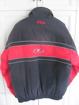 1529d62d979 ... HOMME Vintage Fila Manteau Hiver Veste Ski Noir et Rouge Grande Taille  Très Joli 2