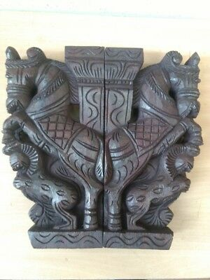 Wooden Wall Corbel Pair Horse Sculpture Bracket Dragon Yali Statue Home Decor 8