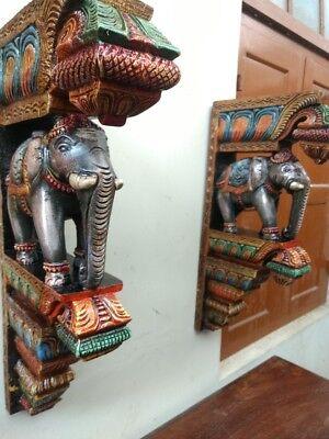 Elephant Wall Corbel Pair Handcarved Wooden Bracket Sculpture Estate Home Decor 8