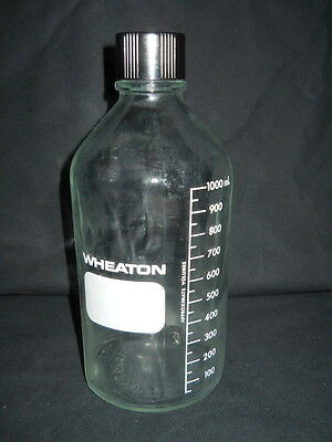 Wheaton Glass 1000mL Indented Graduated Media Bottle with 38-430 Screw Cap 2