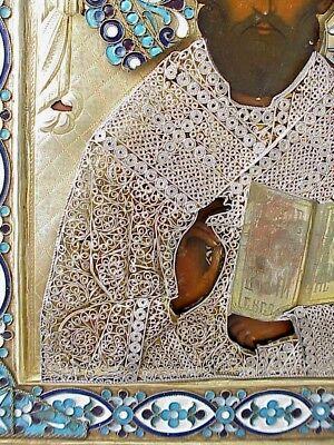 19c. RUSSIAN IMPERIAL GOLD ICON ORTHODOX BISHOP NICOLAS MYRA WOOD EGG TEMPERA 4