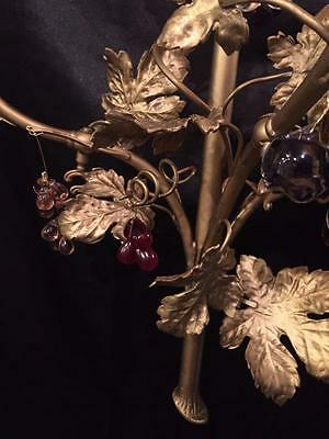 French Antique Solid Brass Grape Leave Sconce With Multi Color Crystals 4