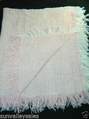 The Three Weavers Pink Baby Blanket Handwoven PInk White Fringe 100% Cotton 3