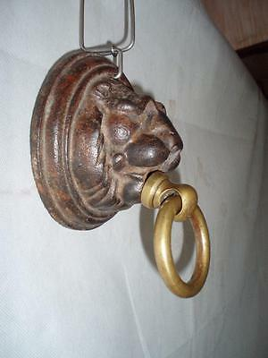 Antique Large Victorian Cast Iron & Brass Lion Stable Tie Ring. 2