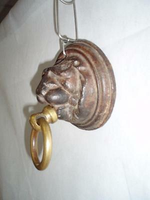 Antique Large Victorian Cast Iron & Brass Lion Stable Tie Ring. 3
