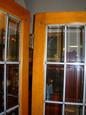 Pair Of Beveled Leaded Glass French Doors In Oak 3