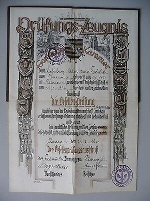 Prüfungszeugnis Gewerbekammer Friseur Plauen 1936 2