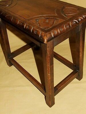 Antique Carved Solid Oak Joint Stool / Occasional Table / Lamp Stand (8) 8