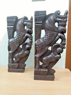 Wall Corbel Pair Wooden Horse Sculpture Bracket Gargoyle Statue Home Decor Rare 4