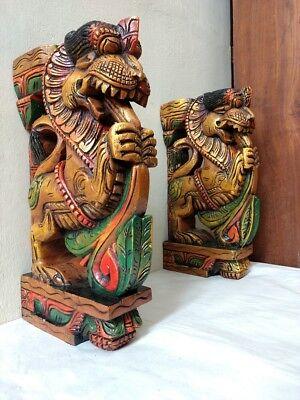 Wall Wooden Bracket Corbel Pair Temple Yalli Dragon Statue Sculpture Home Decor 2