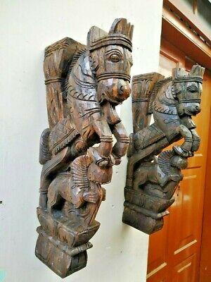 Wall Bracket Horse Sculpture Corbel Pair Wooden Yali Statue Wall Shelf Decor US 3