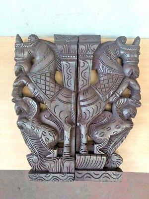 Wall Corbel Pair Wooden Horse Sculpture Bracket Gargoyle Statue Home Decor Rare 6